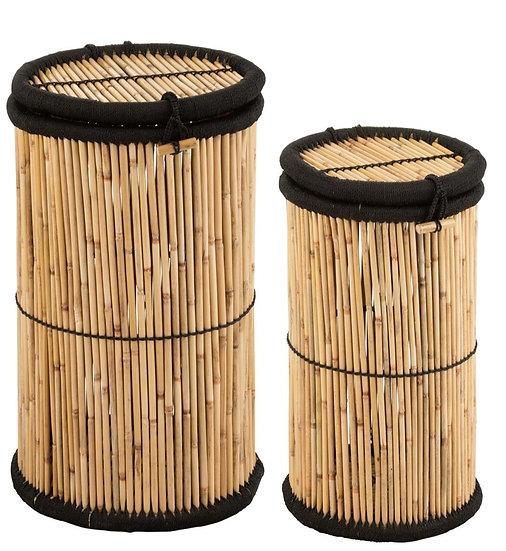 Set van 2 manden cilinder bamboe natural/zwart