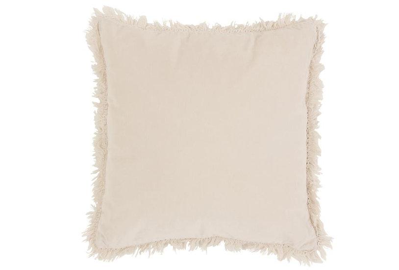 Kussen boord lang katoen/linnen wit