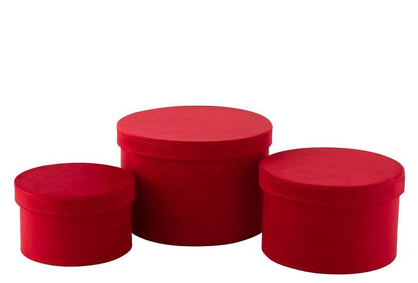 Set van 3 dozen rond fluweel dieprood