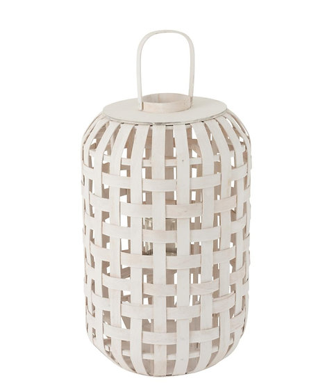 Lantaarn cylinder hout mat wit