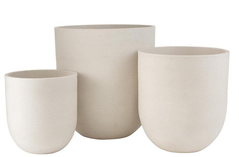 Set van 3 vaas rond keramiek hoog wit