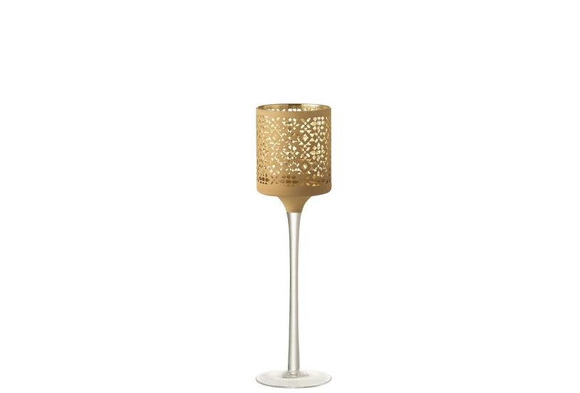 Theelichthouder op voet abstract patroon glas goud/geel small