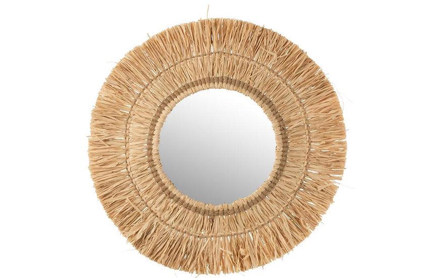 Spiegel hangend rond riet raffia naturel