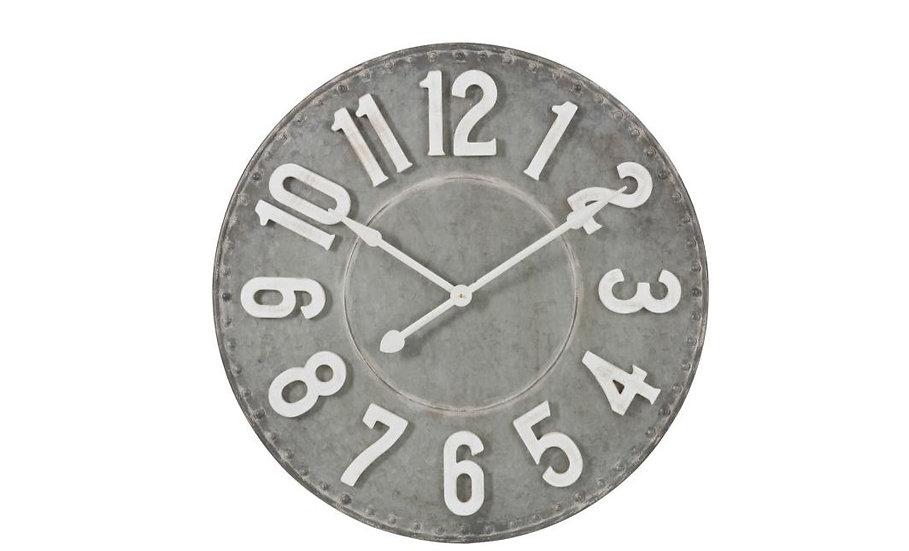 Klok rond cijfers metaal grijs/wit small