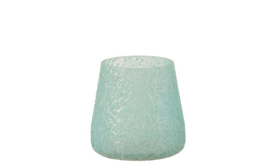 Windlicht relief glas blauw