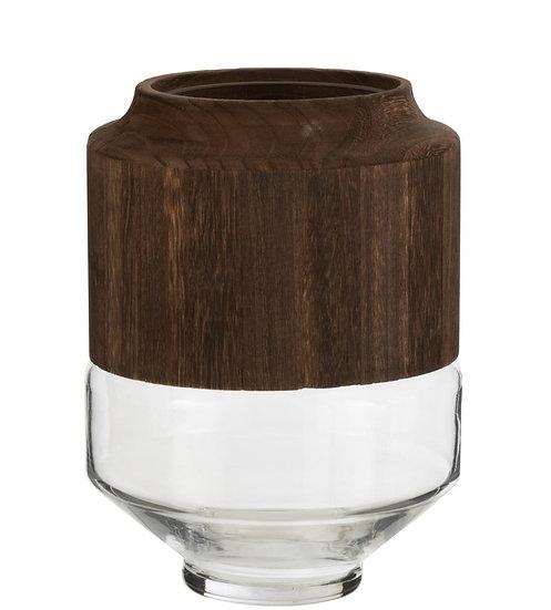 Vaas rond hoog hout/glas donkerbruin small