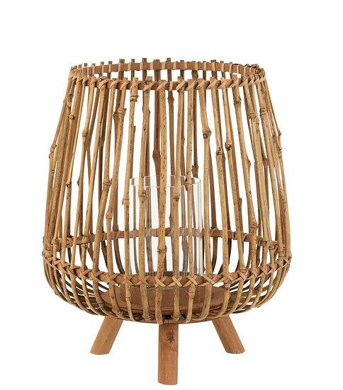 Windlicht op 3 poten bamboe naturel