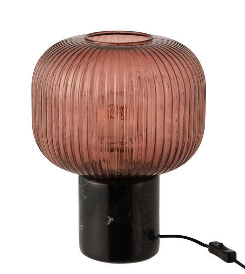 Tafellamp yufo glas/marmer rood/zwart