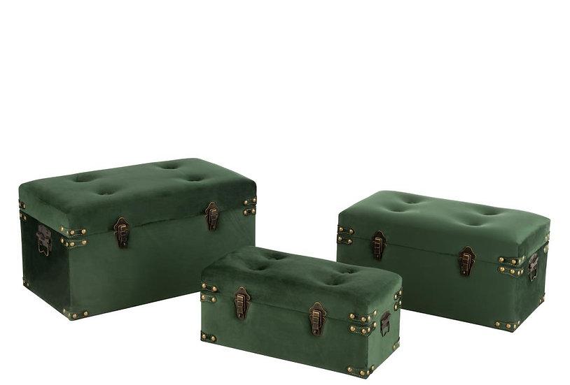 Set van 3 koffers hoog velvet groen large