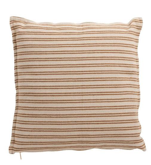 Kussen lijn polyester wit/bruin