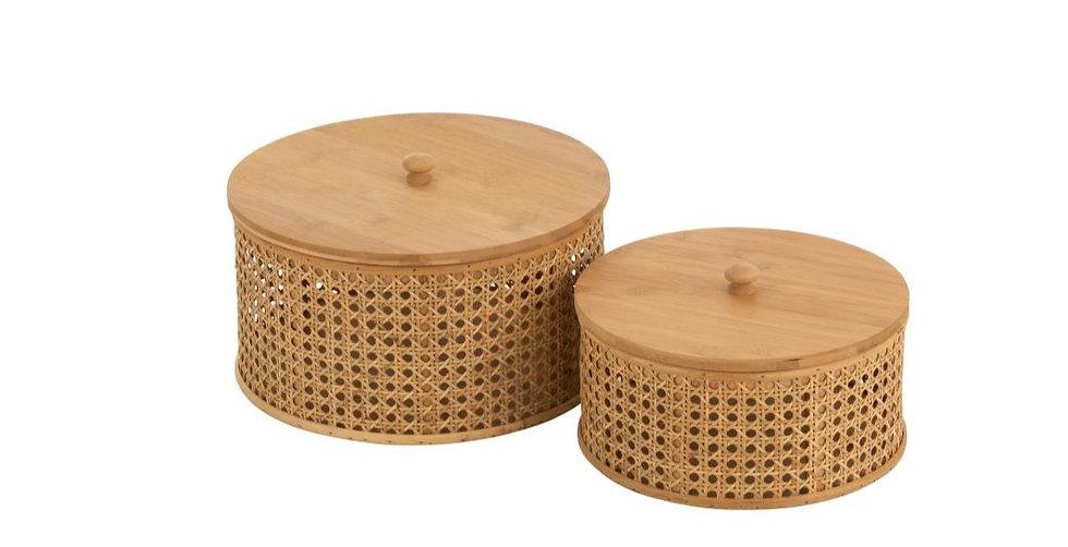 Set van 2 opbergkist rotan/bamboo naturel