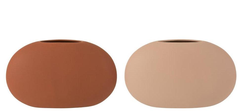 Vaas ovaal dun keramiek beige/bruin assortiment van 2