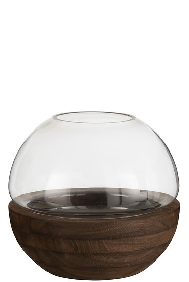 Vaas rond hout/glas donkerbruin