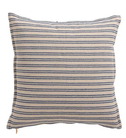 Kussen lijn polyester wit/blauw