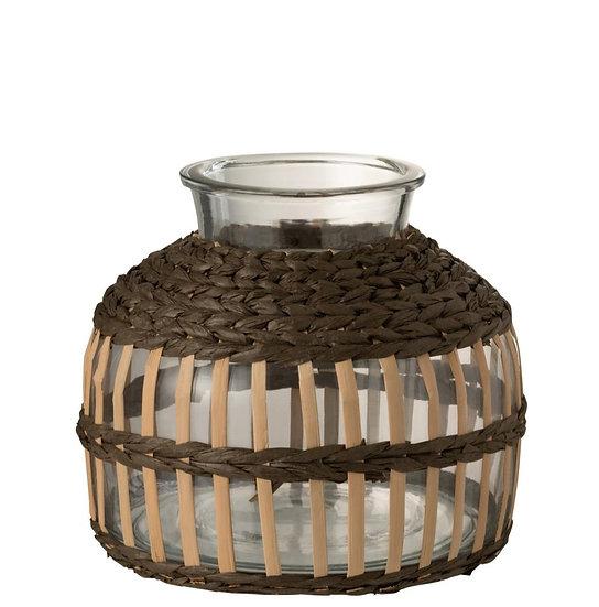 Vaas rond transparant touw/glas