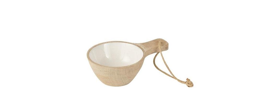 Kom handvat mango hout whitewash