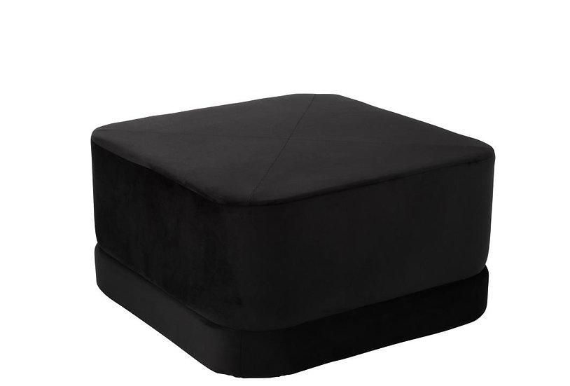 Poef vierkant laag velvet zwart