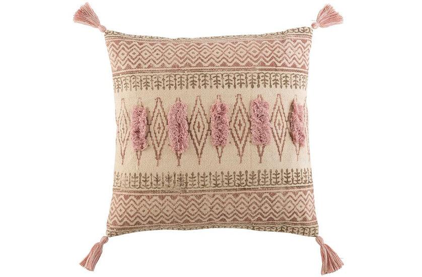 Kussen indiaan katoen bordeaux/roze