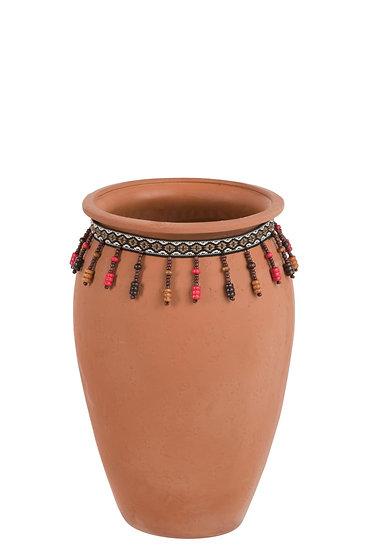 Vaas parels keramiek roze/oranje small