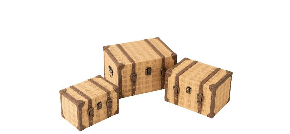 Set van 3 koffers rechthoek hout beige/bruin