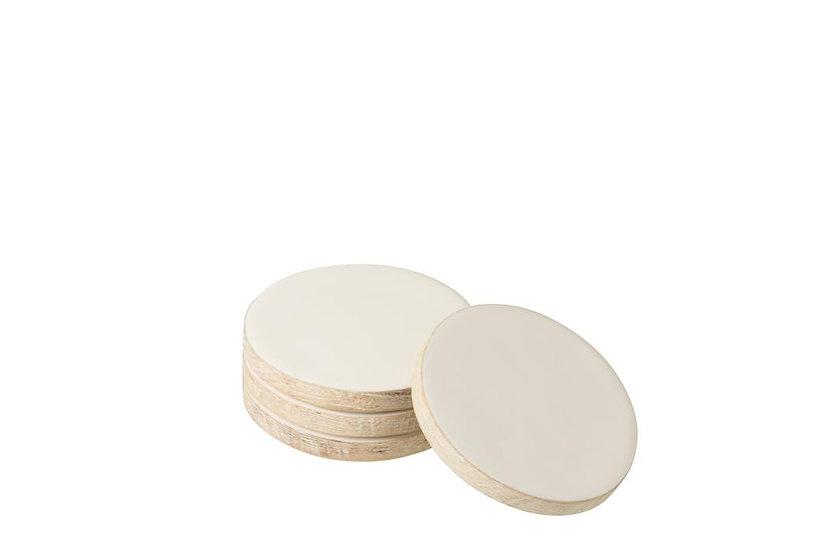 Set van 4 onderlegger mango whitewash wit