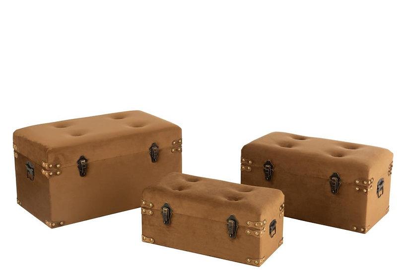 Set van 3 koffers hoog velvet bruin large