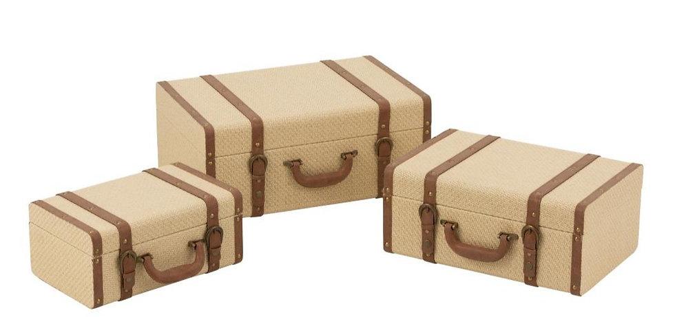 Set van 3 valiezen decoratief mdf beige/bruin