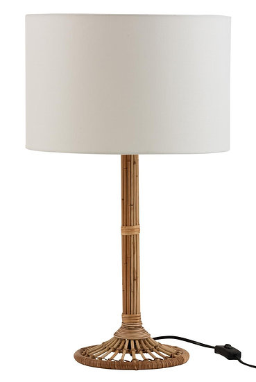 Tafellamp + lampenkap naia rotan naturel/wit