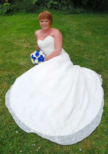 Bride relaxes and smiles.