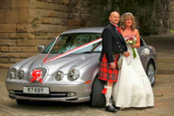 Jaguar with Bride and Groom #tartan