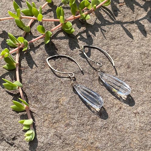 Earrings White Topaz Hook
