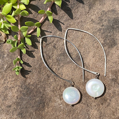 Earrings Coin Pearl Marquis Hook