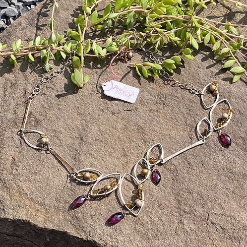 Necklace Garnet Pearl Tourmaline