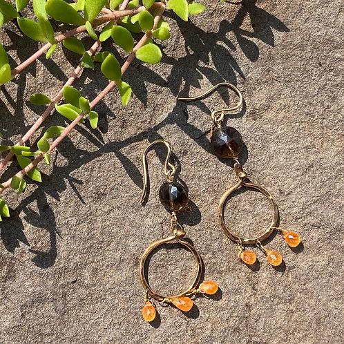 Earrings Topaz Garnet