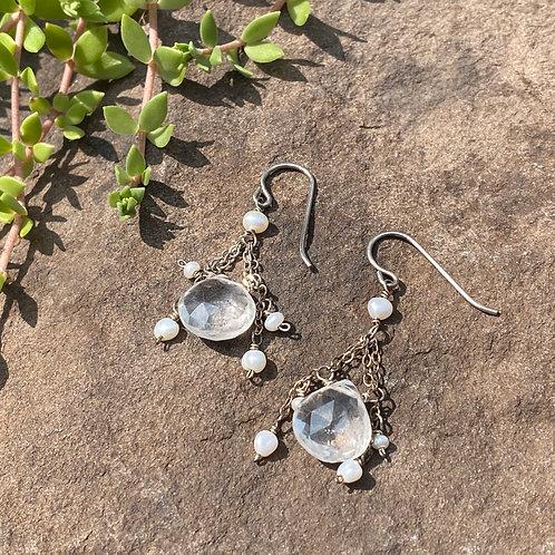 Earrings Quartz & Pearl