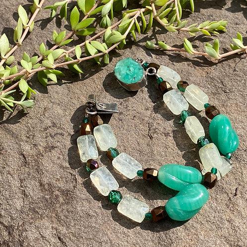 Bracelet Vintage Green Glass
