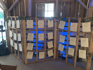 Uplighting Behind the Seating Chart at Barn on Boundary