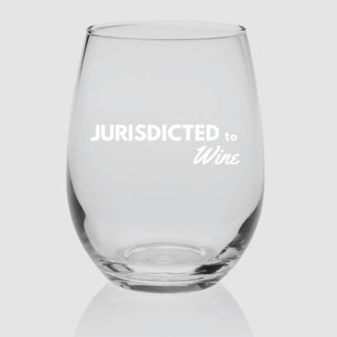 "Karen & Ellen 9oz. wine glass: ""Jurisdicted to Wine"""