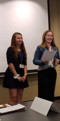B-PC Students Hailey Walters & Jenna Spangler present an idea