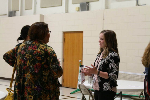 B-PC junior Jenna Spangler visiting with Mayor Wilt