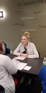 Christen Osborne visiting with CEO students