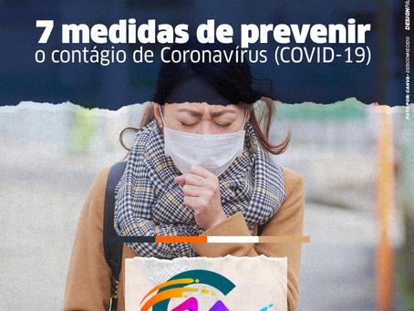 7 medidas para prevenir o contagio por COVID-19