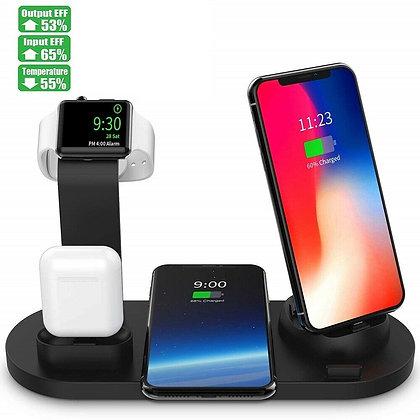 Dock Station carregador sem fio 4 em 1 para iphone airpods micro usb tipo c