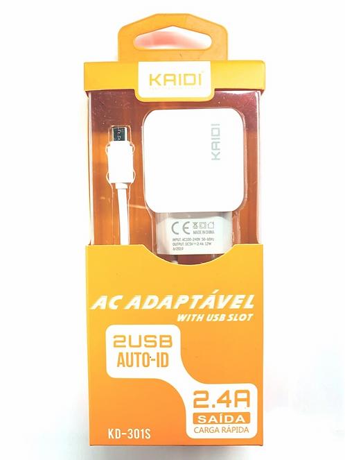 Carregador e Cabo Samsung Turbo Kaidi 2 saidas