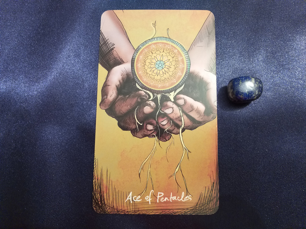 """""""Ace of Pentacles"""" from The Light Seer's Tarot by Chris-Anne"""