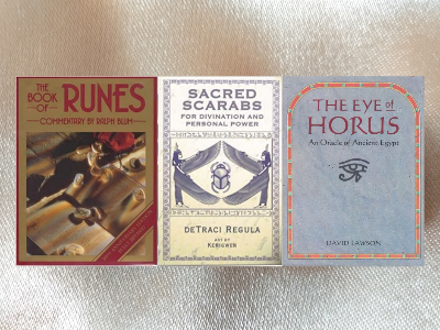 The New Book of Runes by Ralph Blum, The Eye of Horus Oracle of Ancient Egypt by David Lawson, Sacred Scarabs for Divination & Personal Power by DeTraci Regula