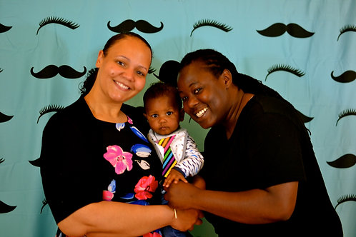 Teal Staches and Lashes Photo Booth Background