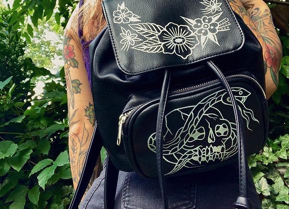 Skull & Snake Flap Backpack