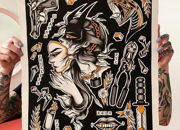 Black & Gold Flash Painting