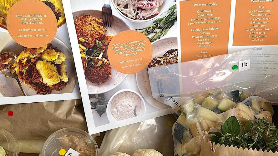 Recipe cards in the plant-based meal kit